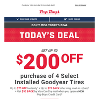 DAY 4 | Up to $200 OFF Select Goodyear Tires