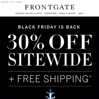Black Friday is Back: 30% off sitewide + FREE shipping. Refresh your outdoor living room.