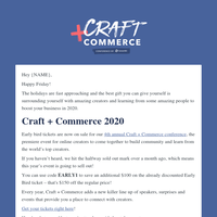 Craft + Commerce 2020 Early Bird tickets now on sale