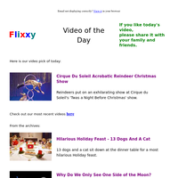 ★ Video of the Day & Quote of the Day - by Flixxy.com - Cirque Du Soleil  Acrobatic Reindeer Christmas Show