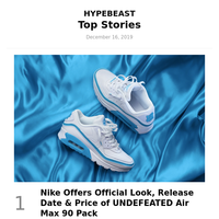 Your Weekly Round-Up: Nike Offers Official Look, Release Date & Price of UNDEFEATED Air Max 90 Pack and More