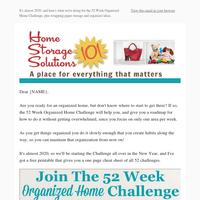 Are You Ready For 2020's Version Of The 52 Week Organized Home Challenge?, Plus Wrapping Paper Storage Solutions & Idea