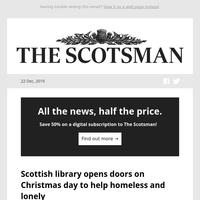 Scottish library opens doors on Christmas day to help homeless and lonely