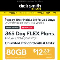 Unmissable Gift Idea! New 365 Day FLEX Mobile Plans