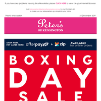 Peter's Boxing Day Sale - Starts NOW!