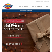50% Off Select Styles to Celebrate Christmas Eve