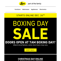 📦Why Wait? Boxing Day Sale Starts today! - Online Only