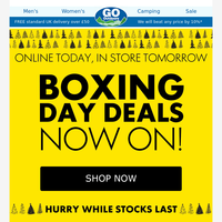 Boxing Day Deals Now On! Hurry While Stocks Last.