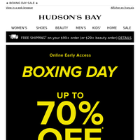 Beat the rush! Up to 70% OFF Boxing Day starts online now