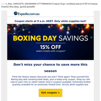 Go ahead, sneak a peek at our Boxing Day offer ... (hint: 15% OFF select hotels!)