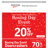 Boxing Day Is Here! Shop Now
