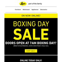 Boxing Day Sale! – Early Bird gets the Door Crashers!