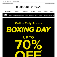 Don't miss it! Boxing Day Sale Preview | UP TO 70% OFF!