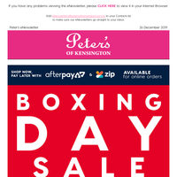 Peter's Boxing Day Sale Now On - Up to 90% off RRP