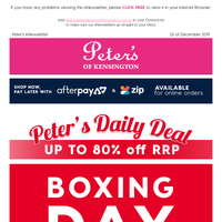 Peter's Boxing Day Deals - Up to 80% off RRP Pyrolux & Circulon Cookware. From Peter's Price $22