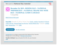 [New post] December 26, 2019 – BOXING DAY – NATIONAL WHINERS DAY – NATIONAL THANK YOU NOTE DAY – NATIONAL CANDY CANE DAY