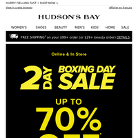 Don't miss it! UP TO 70% OFF Boxing Day deals are going fast...