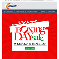 Boxing Day Deals Continue for 48 Hours!