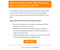 India to get Chief of Defence Staff