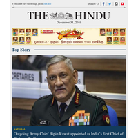 Outgoing Army Chief Bipin Rawat appointed as India's first Chief of Defence Staff