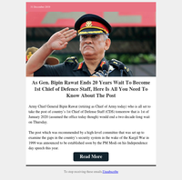 Army Chief General Bipin Rawat will be 1st Chief of Defence Staff