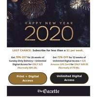 🎊 Happy New Year! Start 2020 off with Pulitzer Prize Award-Winning Journalism 📰