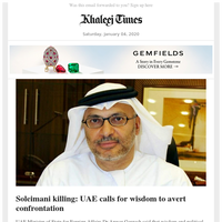 UAE calls for wisdom to avert confrontation after Soleimani killing; Burj Khalifa celebrates 10th anniversary; From office boy to bank manager, Indian expat lives the UAE dream