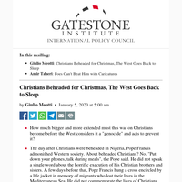 Christians Beheaded for Christmas, The West Goes Back to Sleep