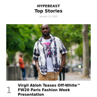 Your Top Stories: Virgil Abloh Teases Off-WhiteTM FW20 Paris Fashion Week Presentation and More