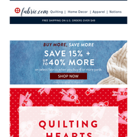 Valentine's Day is a Month Away! ❤️ Save 30%On Fabric for Gift Projects!