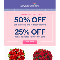 Shop Early & Save: $24.99 Valentine's Roses!