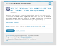 [New post] NEW DAY PROCLAMATION | NATIONAL USE YOUR GIFT CARD DAY – Third Saturday in January