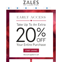 EARLY ACCESS: Save Up to 20% Off Online Only!
