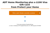 Get a new Alarm Special + $100 Visa Gift Card Bonus from Protect Your Home