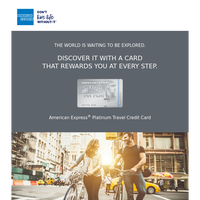 Complimentary Travel Vouchers Worth INR 33,500 with American Express(R) Platinum Travel Credit Card