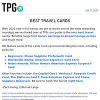 ✈ The Best Travel Credit Cards for 2020 & More Daily News From TPG ✈