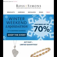 It's snowing savings! ☃️ Liquidation up to 70%