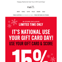 Score 15% off by using your gift card today→