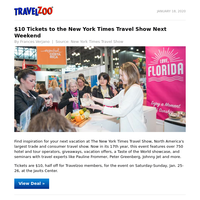 $10 Tickets to the New York Times Travel Show Next Weekend