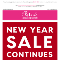 Up to 80% off RRP - Peter's New Year Sale Continues