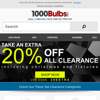 Extra 20% off All Clearance, including Christmas and Fixtures