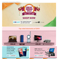 Amazon - Great Indian Sale | Top Rated Electronics of 2019 | JBL Speakers with Additional Offers | 10% Cashback on SBI cards