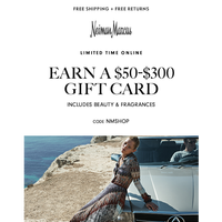 3 days only| Earn a $50+ gift card (includes beauty!)