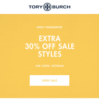 Ends tomorrow: extra 30% off sale styles