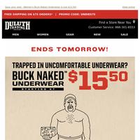 Snap 'Em Up - $15.50 Men's Buck Naked Underwear!