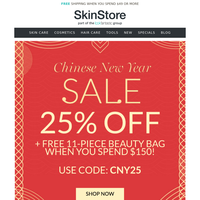 Chinese New Year Sale | 25% Off + FREE 11-Piece Beauty Bag