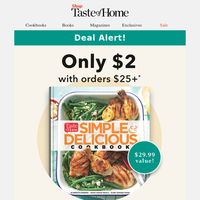 $2 Cookbook Offer with All $25 Orders. Limited Time Only!