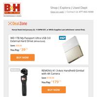 Today's Deals: WD 1TB External Hard Drive, REMOVU Handheld Gimbal, Angler Bicolor LED Light, Porta Brace Compact Padded Case
