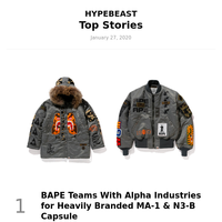 Your Weekly Round-Up: BAPE Teams With Alpha Industries for Heavily Branded MA-1 & N3-B Capsule and More