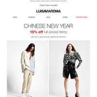 Chinese New Year: 15% off new collections!